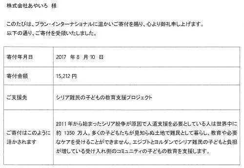 プランジャパンへの募金